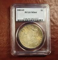 1883 O MORGAN DOLLAR MINT STATE 64 PCGS   MULTI COLOR TONING BOTH SIDES  SHIPS FREE