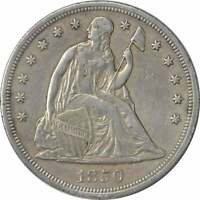 1850 LIBERTY SEATED SILVER DOLLAR EF UNCERTIFIED