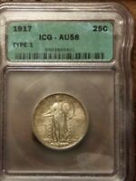 1917 TYPE 1 STANDING LIBERTY QUARTER SILVER ICG - AU58 ALMOST UNCIRCULATED