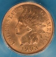 1903 INDIAN HEAD CENT ICG MINT STATE 65RD- SHARP, BRIGHT RED GEM