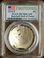 2014 P PCGS PR70 DCAM 1$ SILVER PROOF BASEBALL HALL OF FAME
