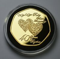 40TH RUBY WEDDING ANNIVERSARY 24CT GOLD COMMEMORATIVE IN CAP