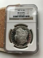 1881 CC MINT STATE 64 DPL MORGAN DOLLAR $1  BLACK AND WHITE MIRRORS
