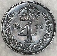 1900 GREAT BRITAIN 4 PENCE UNC SILVER COIN .925 QUEEN VICTOR
