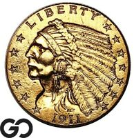 1911 QUARTER EAGLE $2.5 GOLD INDIAN INVESTMENT PIECE    FREE