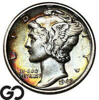 1942/1 MERCURY DIME POPULAR OVER DATE AU KEY DATE COLLECTOR