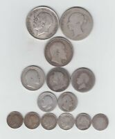 PRE 1920 BRITISH STERLING SILVER  .925  14 COINS  2/6'S 3D'S