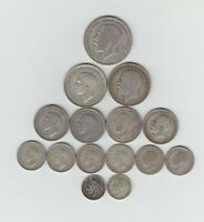 PRE 1947 BRITISH SILVER  .500  15 COINS  2/6 3D'S  WEIGHT 76