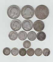 PRE 1920 BRITISH STERLING SILVER  .925  17 COINS  2S 3D'S  W