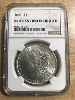 GEM $$$ 1891 MORGAN SILVER DOLLAR - BRILLIANT UNCIRCULATED BU UNC - NGC GRADED
