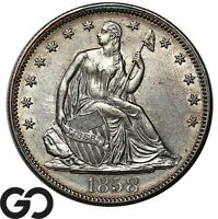 1858 SEATED LIBERTY HALF VERY CHOICE AU  /UNC SILVER 50C