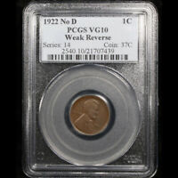 1922 D LINCOLN WHEAT CENT NO D MINT MARK PCGS
