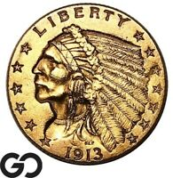 1913 QUARTER EAGLE $2.5 GOLD INDIAN SHARP    FREE SHIPPING