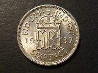 GREAT BRITAIN 1937 SIXPENCE BRILLIANT UNCIRCULATED KM852