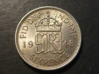 GREAT BRITAIN 1948 SIXPENCE ALMOST UNCIRCULATED KM862