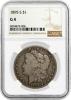 1895 S $1 MORGAN SILVER DOLLAR NGC G4 GOOD CIRCULATED KEY DATE COIN