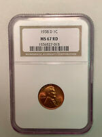 1938-D NGC MINT STATE 67 RD RED LINCOLN CENT IN OLD NGC HOLDER