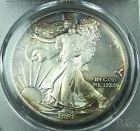 TONED 1991 SILVER EAGLE MINT STATE 67  PCGS