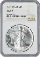 1991 AMERICAN SILVER EAGLE DOLLAR MINT STATE 69 NGC