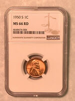 1950-S NGC MINT STATE 66 RD RED LINCOLN CENT