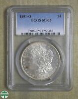 1891-O MORGAN DOLLAR - PCGS CERTIFIED MINT STATE 62 - SMALL TONING SPOT IN FRONT OF CHIN