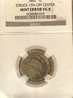 NGC 1C 1862 COPPER NICKEL INDIAN CENT 15  O/C OFF CENTER VG