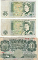LOT OF 3 ENGLAND BRITISH UK ONE POUND NOTES 1   INCLUDE AN E