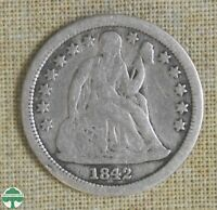 1842 SEATED LIBERTY DIME   GOOD DETAILS