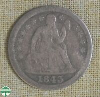 1843 SEATED LIBERTY DIME   BENT   GOOD DETAILS