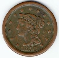 1850 LARGE CENT - BRAIDED HAIR - HIGH GRADE - LOVELY COIN - HI RES SCANS