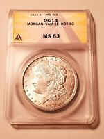 UNCIRCULATED 1921  VAM-1E HOT 50 MORGAN DOLLAR GRADED BY ANACS AS A MINT STATE 63