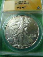 1999 SILVER EAGLE ANACS MINT STATE 67