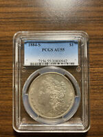 1884-S MORGAN SILVER DOLLAR $1 PCGS ALMOST UNCIRCULATED 55 AU 55  KEY DATE