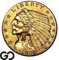 1908 QUARTER EAGLE $2.5 GOLD INDIAN FIRST YEAR ISSUE    FREE