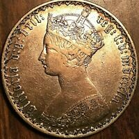 1859 GREAT BRITAIN VICTORIA GOTHIC SILVER FLORIN COIN   EXCELLENT EXAMPLE