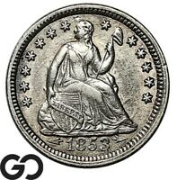 1853 SEATED LIBERTY HALF DIME ARROWS CHOICE AU COLLECTOR TYP