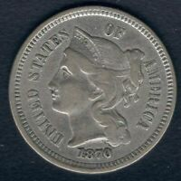 1870 THREE CENT NICKEL PIECE 3C - HIGH GRADE - BRIGHT COIN - HI RES SCANS