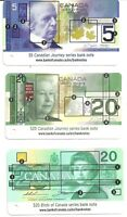 CANADA BANKNOTE SECURITY CARDS LOT OF 3 DIFFERENT BANK OF CANADA $5 $20