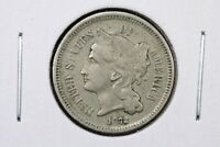 1872 THREE CENT NICKEL, VF