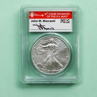 2012-S  $1 SILVER EAGLE FIRST STRIKE PCGS MS-70 MERCHANTI SIGNED LABEL