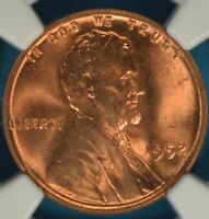 1952 LINCOLN WHEAT CENT NGC MINT STATE 66RD- EXCEPTIONAL, BRIGHT RED GEM