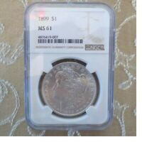 MORGAN SILVER $ 1 DOLLAR 1899-P MINT STATE 61 BY NGC