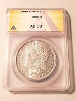CIRCULATED BETTER DATE 1899 MORGAN SILVER DOLLAR GRADED BY ANACS AS AU-53