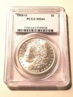 UNCIRCULATED 1888-O MORGAN SILVER DOLLAR GRADED BY PCGS AS A MINT STATE 64