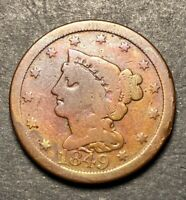 1849 BRAIDED HAIR HALF CENT  LOW MINTAGE DATE ONLY 39K OBSOLETE US TYPE COIN