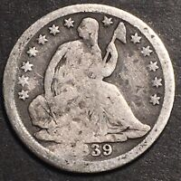 1839 SEATED LIBERTY SILVER HALF DIME 5C OBSOLETE SILVER TYPE COIN