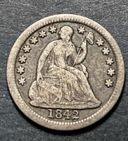 1842 SEATED LIBERTY SILVER HALF DIME 5C SEMI KEY DATE 815K MINTED  COIN
