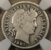 1901-S BARBER DIME 10C NGC CERTIFIED VG10