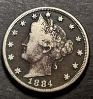 1884 LIBERTY V NICKEL 5C TOUGH SEMI KEY DATE COLLECTIBLE TYPE COIN VF DARK COLOR