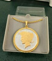 US 1922 $1 PEACE SILVER DOLLAR WITH GOLD ENHANCEMENT PLATED ROPE BEZEL PENDANT